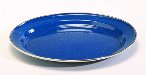 10 Blue Enamelware Dinner Plate With Stainless Rim Case Pack Of 24