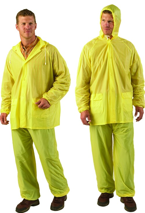 Yellow Three-Piece Vinyl Rainsuit  - Small - XL