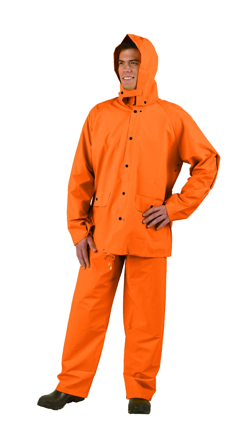 Orange Workforce Three Piece PVC Rainsuit - Sizes M-3XL
