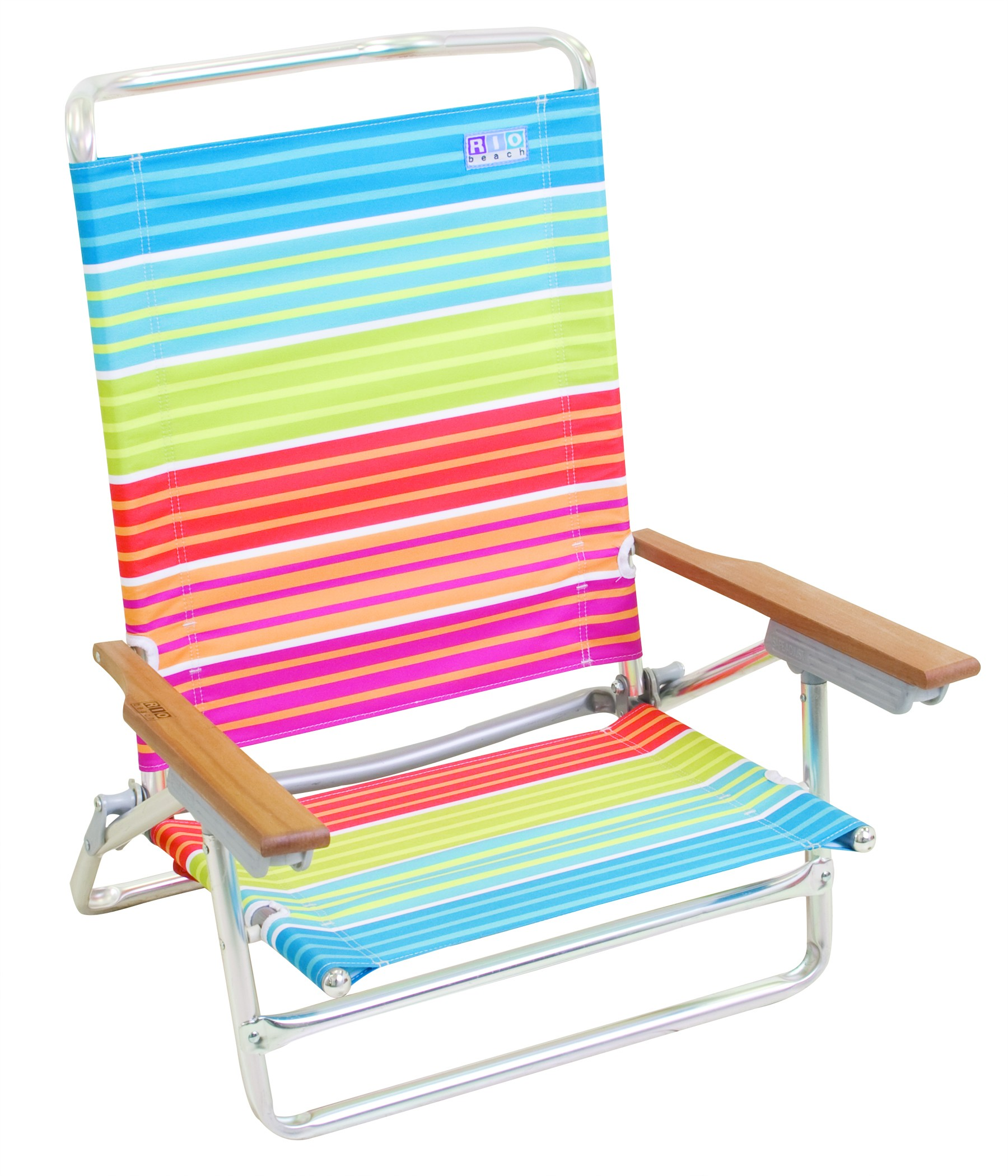 Five Position High Back Beach Chair - Sunset Striped