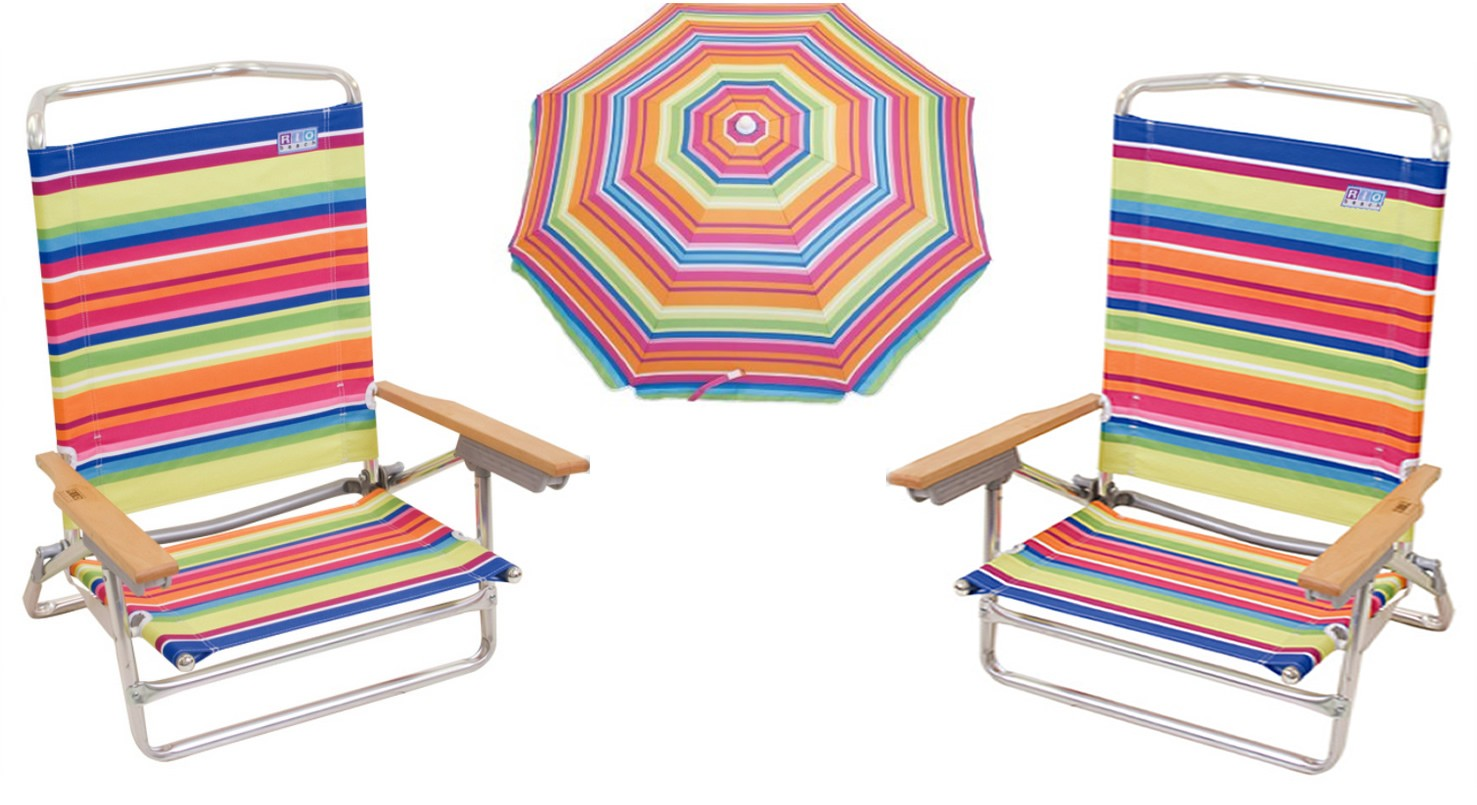 2 Classic 5 Position / Lay Flat Beach Chairs and Matching Sun Blocking Umbrella