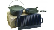 Cast Iron Kit - Includes Oven, Griddle, Skillet, Lid Lifter and Wooden Box